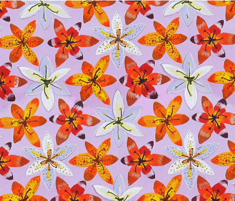 Lilies2 fabric by belana on Spoonflower - custom fabric