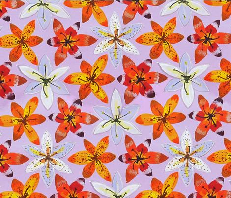 Lilies2 fabric by belana on Spoonflower - custom fabric