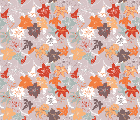 Lovely Lilies fabric by meg56003 on Spoonflower - custom fabric
