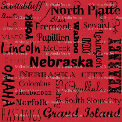 Nebraska Cities - red