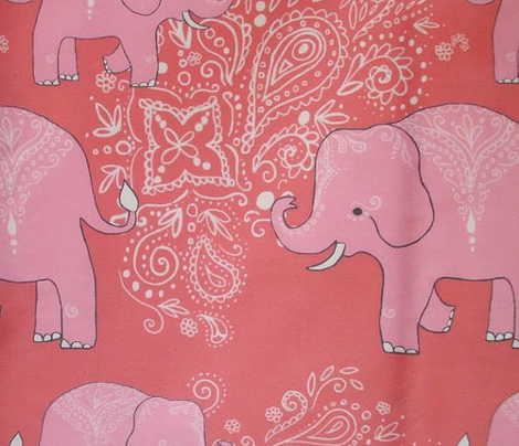 Coral Mehndi Elephant Dance Party Kaleidoscope fabric