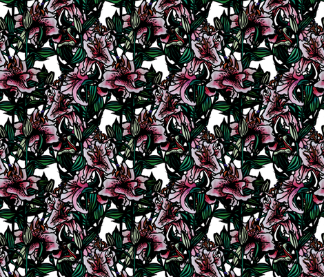 Lilliums(c)indigodaze2014 fabric by indigodaze on Spoonflower - custom fabric