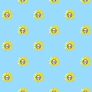 Skull Sunflower on Blue