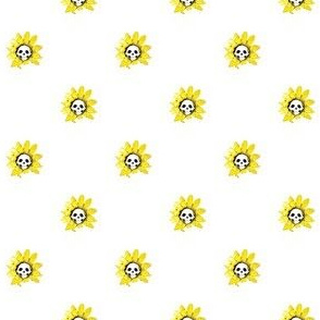 Skull Sunflowers on White