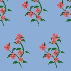 Watercolor Hearts Floral Vine Print Blue