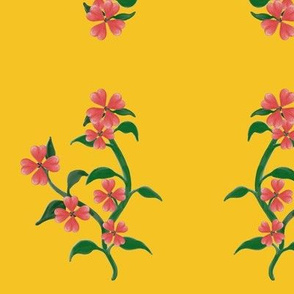 Watercolor Heart Floral Vine (yellow)