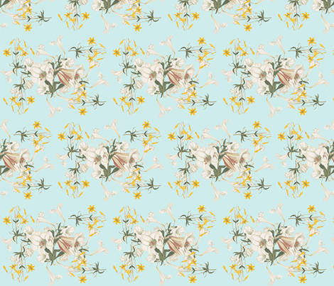 Lilies & Robin's Egg fabric by rmurdock on Spoonflower - custom fabric