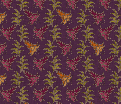 trumpet lily on purple fabric by selenaanne on Spoonflower - custom fabric
