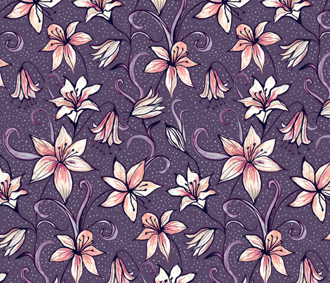 Midnight Lilies fabric by kezia on Spoonflower - custom fabric