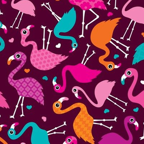 Exotic tossed paradise bird flamingo summer print