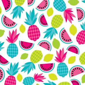 Tropical summer retro fruit paradise colorful summer pineapple water melon