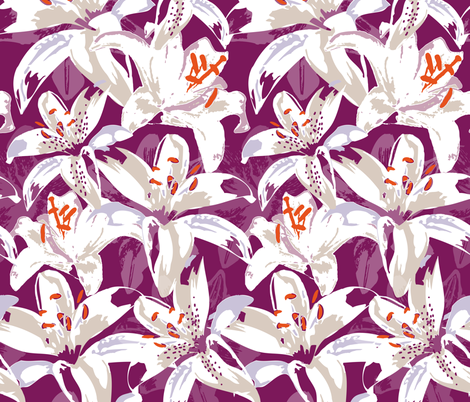 Pop Lilies fabric by zapi on Spoonflower - custom fabric