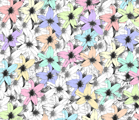 Lillies_pastel fabric by chynna on Spoonflower - custom fabric