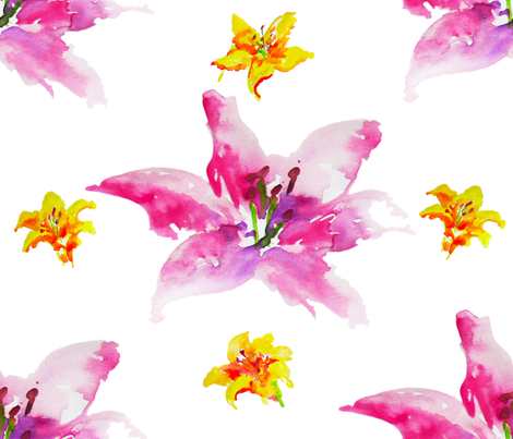 lillies fabric by i&v on Spoonflower - custom fabric