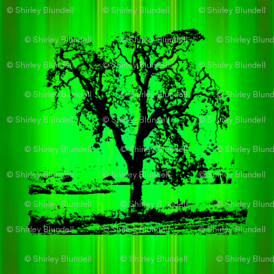 Tree on green drip dye