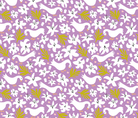 lily + palm (plum) fabric by pattyryboltdesigns on Spoonflower - custom fabric