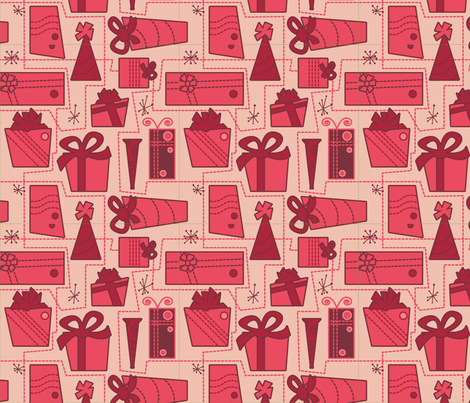 Gifts (red) fabric by studiofibonacci on Spoonflower - custom fabric
