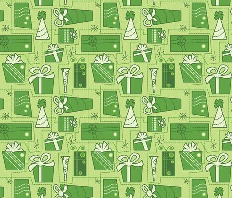 Gifts (green) fabric by studiofibonacci on Spoonflower - custom fabric