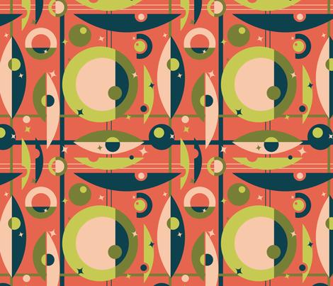 Mid-Century Modern - Circle Grid & Stars (Shrimp)