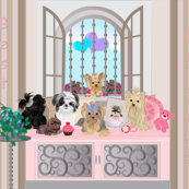 Victorian Window Seat - Yorkie, Shih Tzu Friends