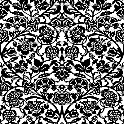Kensington Damask ~ Black and White