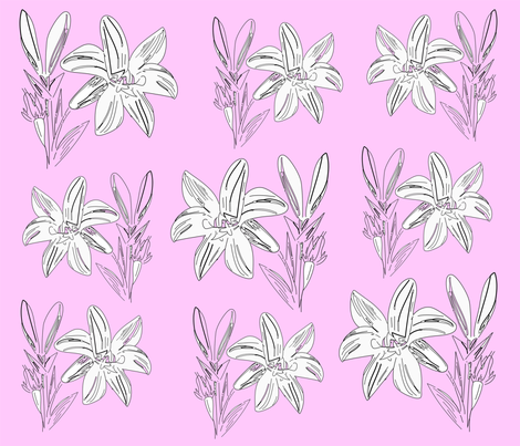 liliesinpink fabric by thlailax on Spoonflower - custom fabric
