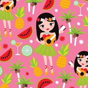 Exotic hula girl tropical summer holiday print