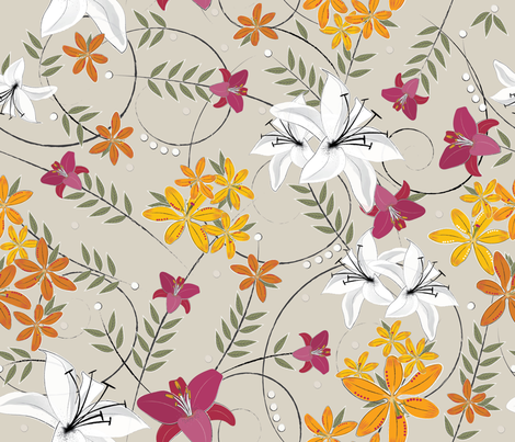 whitepinkorange lilies fabric by liluna on Spoonflower - custom fabric