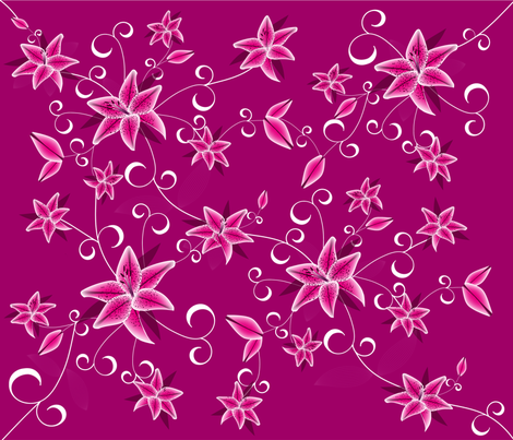 pink lilies fabric by erijoyjoy on Spoonflower - custom fabric