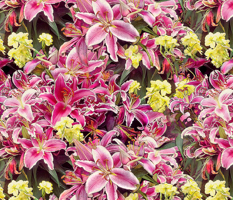 Rubrum Lilies and Narcissus fabric by wren_leyland on Spoonflower - custom fabric