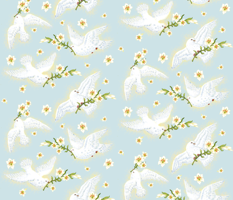 Victorian Easter Lilies & Doves fabric by hpdesigns on Spoonflower - custom fabric