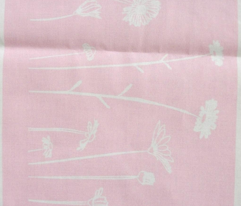 Wildflowers Border Print Pink White