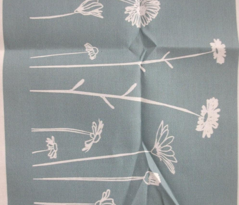 Wildflowers Border Print Teal White