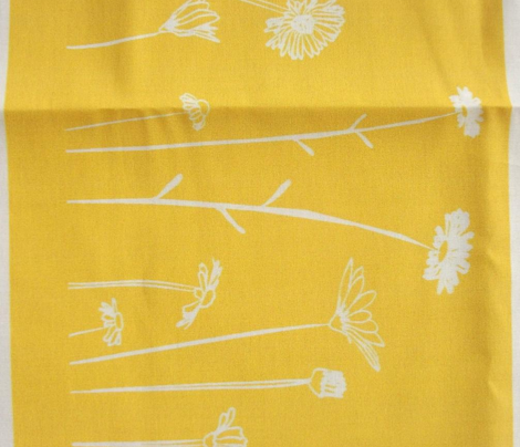 Wildflowers Border Print Yellow White