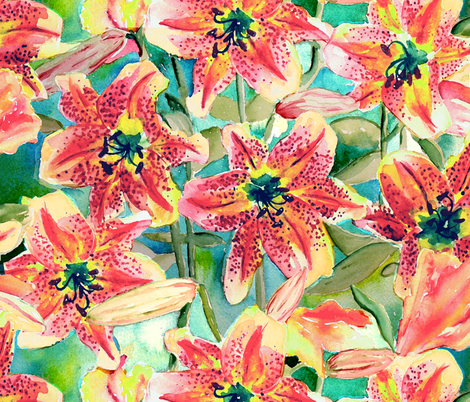 Lilies  fabric by beebumble on Spoonflower - custom fabric