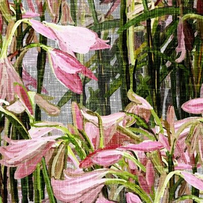 Easter lilies on gray canvas