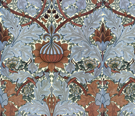 William Morris ~ Growing Damask ~ Tobacco Leaf fabric by peacoquettedesigns on Spoonflower - custom fabric
