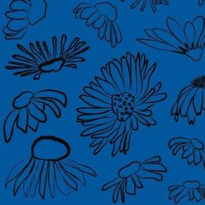 Wildflowers Blue Black