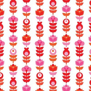 Pink retro flowers pattern