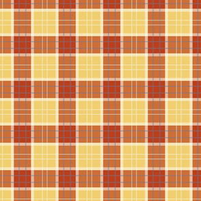 Craigowan Tartan ~ Provence ~ Rococo Gold, White, Turkey Red and Chevalier