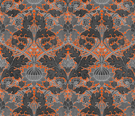 William Morris ~ Growing Damask ~ Halloween fabric by peacoquettedesigns on Spoonflower - custom fabric