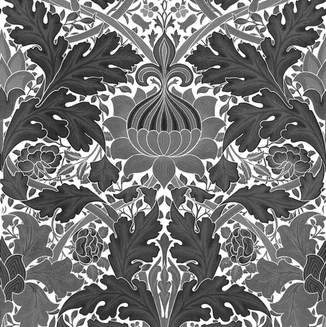 William Morris ~ Growing Damask ~ Black and White fabric by peacoquettedesigns on Spoonflower - custom fabric