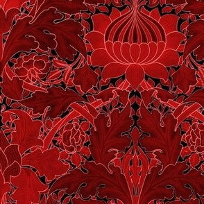 William Morris ~ Growing Damask ~ Red and Black