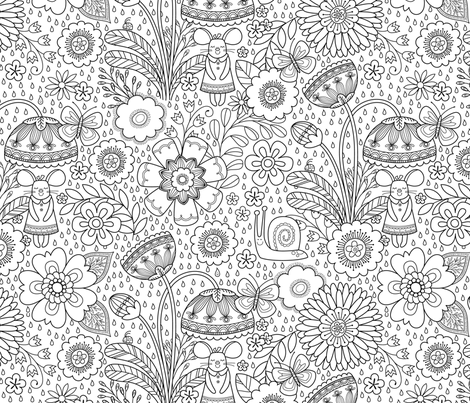 coloring_book_floral fabric by iluvfabric on Spoonflower - custom fabric