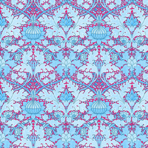 William Morris ~ Growing Damask ~ Blue and Courtesan
