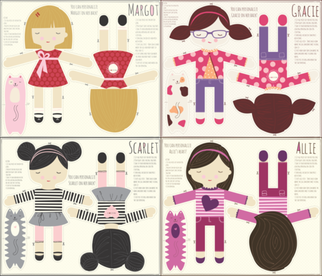 four_doll_2 fabric by stacyiesthsu on Spoonflower - custom fabric