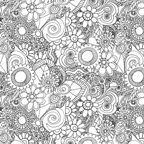 Floral Wallpaper Colouring In