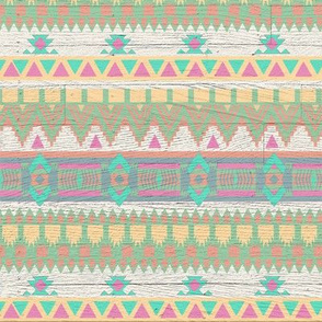 Whitewashed Aztec Tribal Pastel Bright Pattern