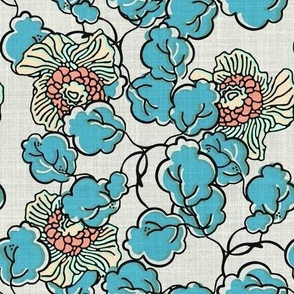 Vintage Block Print Floral in Blue