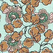 Shabby Chic Block Print Floral in aqua, mocha and pink